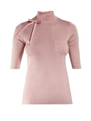 Prada High Neck Bow Embellished Silk Sweater Pink