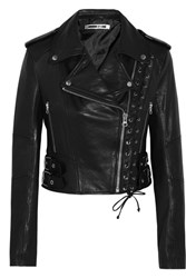 Mcq By Alexander Mcqueen Lace Up Leather Biker Jacket Black