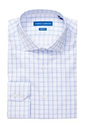 Vince Camuto White Blue Satin Windowpane Modern Fit Shirt