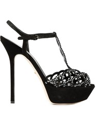 Sergio Rossi Embellished T Bar Sandals Black