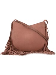 Tory Burch Fringed Hobo Shoulder Bag Pink And Purple