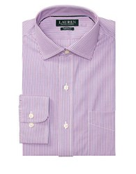 Lauren Ralph Lauren Classic Fit Striped Cotton Dress Shirt Pink Peony