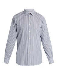 Paul Smith Striped Cotton Poplin Shirt Blue Multi