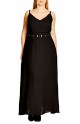 City Chic Plus Size Women's 'Dreamy' Belted V Neck Maxi Dress