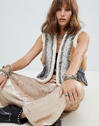 Native Rose Cropped Gilet With Faux Fur And Fringing Panels Brown