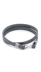 Miansai Foksol Leather Wrap Bracelet Antique Grey