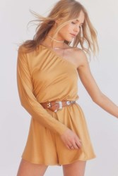 Silence And Noise One Shoulder Long Sleeve Romper Tan