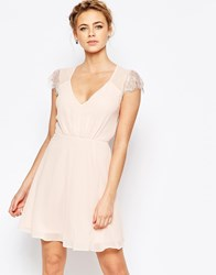 Elise Ryan Lace Mini Skater Dress Nude Pink