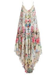 Camilla Boheme Print Pleated Silk Midi Dress Pink Print