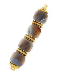 Jose And Maria Barrera 24K Gold Plated Gray Stone Bracelet Women's