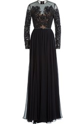 Elie Saab Embellished Silk Floor Length Evening Gown Black