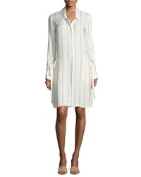 Halston Long Sleeve Striped Shirtdress W Wide Tie Cuffs Tan