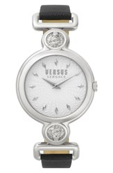 Versus By Versace Sunnyridge Leather Strap Watch 34Mm Black Silver