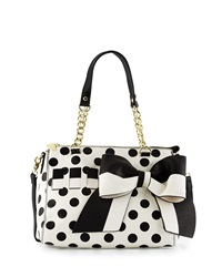 Betsey Johnson Gift Me Baby Bow Polka Dot Satchel Bag Cream Black