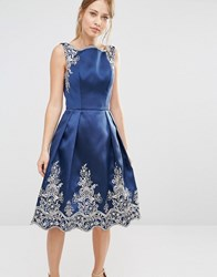 Chi Chi London Embroided Midi Dress With Premium Metallic Lace Hem Navy Gold