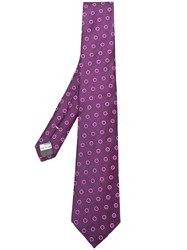 Canali Polka Dot Embroidered Tie Pink And Purple