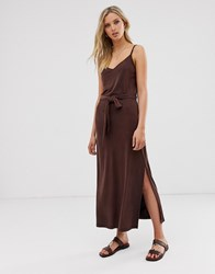 Warehouse Cami Midaxi Dress In Chocolate Brown