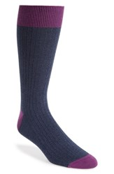 Ted Baker London Polbray Ribbed Socks Navy