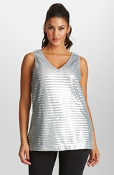 Mynt 1792 Fringe Sequin V Neck Top Plus Size Silver