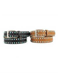 Neiman Marcus Embellished Faux Leather Belt Black