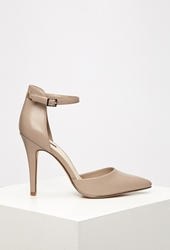 Forever 21 Pointed Ankle Strap Pumps Light Grey