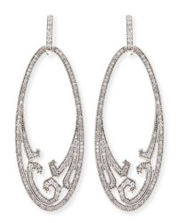 Ivanka Trump Athenee 18K White Gold And Diamond Oval Scroll Earrings