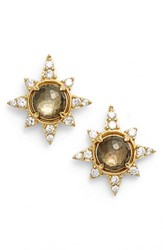 Nadri Women's Holiday Star Stud Earrings Smoky Quartz Pyrite Gold