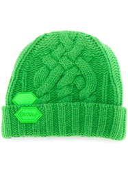 Off White Logo Patch Beanie Green