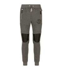 Philipp Plein Jersey Ribbed Knee Sweatpants Male Grey