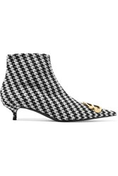 Balenciaga Bb Embellished Houndstooth Tweed Ankle Boots Black