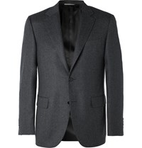 Canali Grey Wool Flannel Suit Jacket Gray