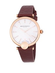 Bruno Magli Diamond And Rose Gold Tone Stainless Steel Leather Strap Watch