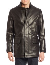 Cole Haan Lambskin Leather Car Coat Black