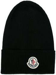 Moncler Ribbed Beanie Hat Black