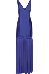 Halston Heritage Paneled Pleated Ponte And Crepe De Chine Gown Royal Blue