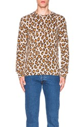 Acne Studios Peele Leoprint Sweater In Brown Animal Print Orange