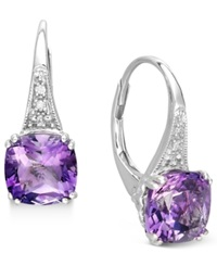 Macy's 14K White Gold Earrings Amethyst 2 9 10 Ct. T.W. And Diamond Accent Earrings