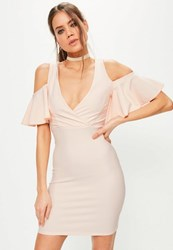 Missguided Pink Frill Cold Shoulder Plunge Bodycon Dress Camel
