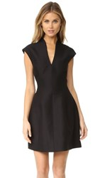 Halston Heritage Cap Sleeve Structured Dress Black