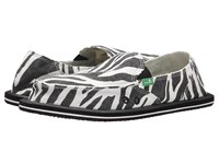 Sanuk I'm Game Zebra Black White Women's Slip On Shoes Animal Print