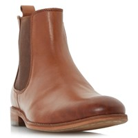 Dune Montpelier Round Toe Leather Chelsea Boots Tan
