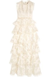 Zimmermann Winsome Lace Trimmed Tieredembroidered Silk Maxi Dress Ivory