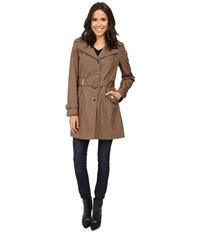 Calvin Klein Single Breasted Rain Trench Truffle Women's Coat Brown