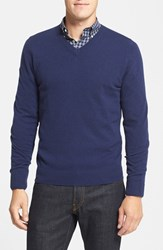 Nordstrom Men's Big And Tall Cashmere V Neck Sweater Blue Vintage