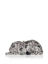 Judith Leiber Snow Leopard Wildcat Crystal Clutch Silver