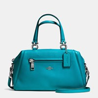 Coach Primrose Satchel In Pebble Leather Silver Turquoise