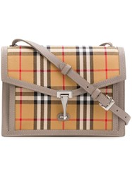 Burberry Checked Foldover Bag Brown