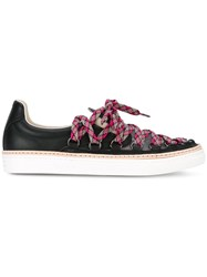 Maison Martin Margiela Low Top Lace Up Sneakers Women Leather Polyimide Rubber 39 Black