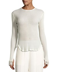 Helmut Lang Long Sleeve Ribbed Cotton Top Ivory