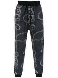 A La Garconne Printed Straight Fit Trousers Grey